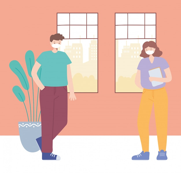 Prévention de la distance sociale contre les coronavirus, l'homme et la femme maintiennent une protection à distance, les personnes avec un masque médical