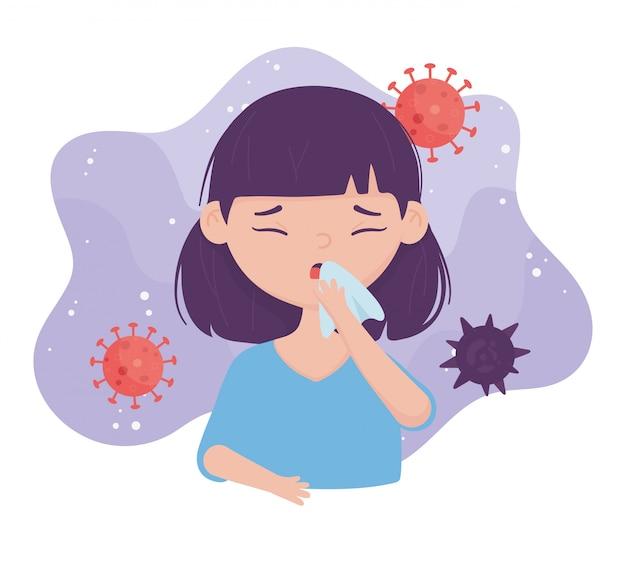 Prévention du coronavirus covid en éternuant la bouche de couverture