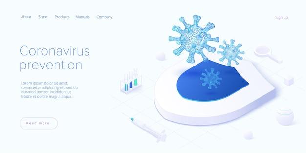 Prévention du coronavirus ou vaccination contre le virus en isométrique. bouclier comme métaphore protectrice de l'antidote de covid ou du vaccin antivirus.