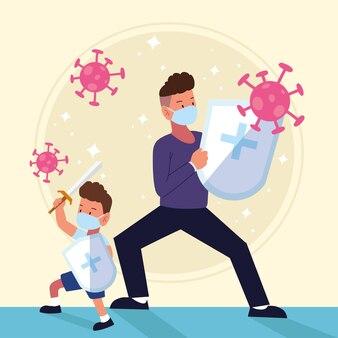 Prévention père et fils luttent contre le covid