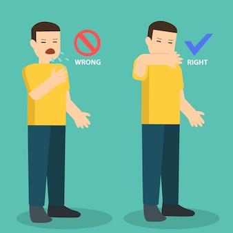 Prévention de la propagation du virus en couvrant la bouche pendant les éternuements