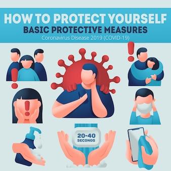Préventions du coronavirus covid-19. un homme de race explique les mesures de protection. bannière d'infographie, porter un masque facial, se laver les mains, désinfecter.