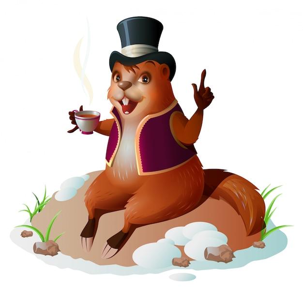 Le prévisionniste de la marmotte est sorti du trou, assis et buvant du café. jour de la marmotte