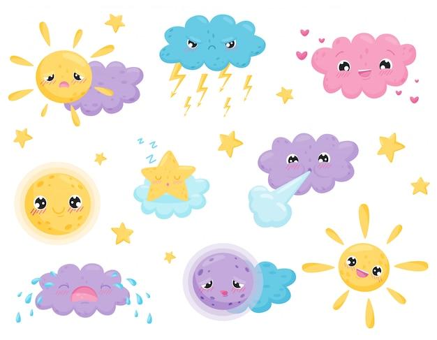 Prévisions météo et émotions drôles. météorologie et saisons.