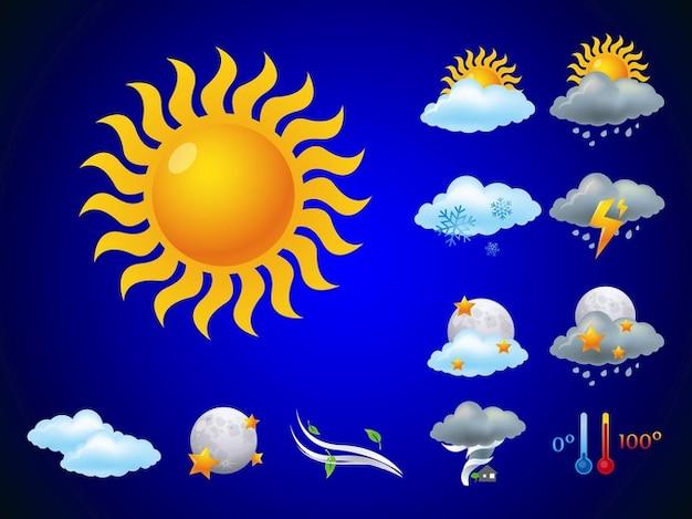 Prévisions météo utilisant nuages vecteurs icône