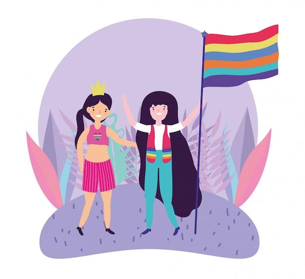 Pride parade lgbt community, filles drôles avec couronne et drapeau arc-en-ciel