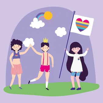 Pride parade lgbt community, hommes et femmes avec drapeau coeur arc-en-ciel