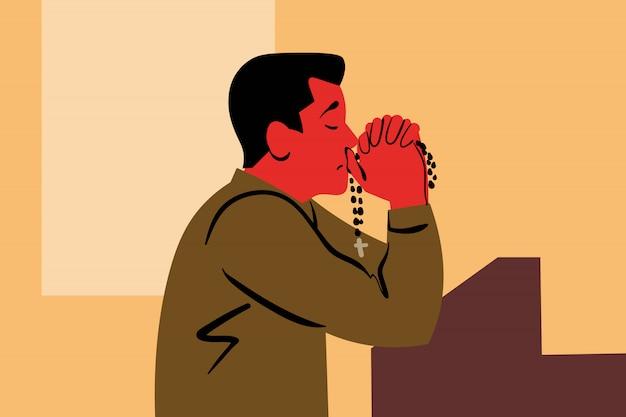 Prier, dieu, religion, église, christianisme, demande, concept de foi