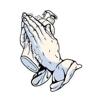 Prier les mains avec illustration graphique de désinfectant pour les mains