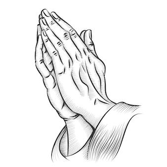 Prier les mains. religion et sainte catholique ou chrétienne, croyance spirituelle et espérance.