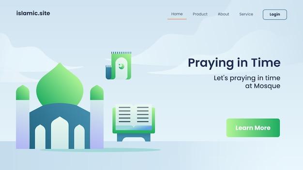 Prier à temps pour l'atterrissage du modèle de site web ou la conception de la page d'accueil