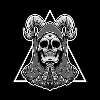 Prière illustration vectorielle triangle de crâne