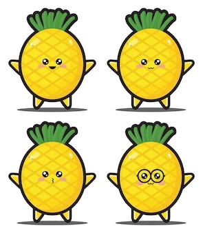Prime de conception kawaii de légumes d'ananas de dessin animé mignon