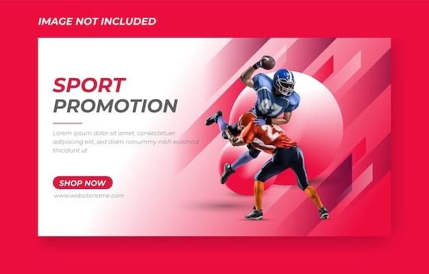 Prime domicile vecteur de conception de bannière promotionnelle de sport 3d rouge modèle premium
