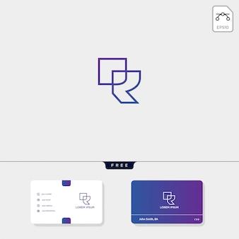 Prime initiale r, modèle de logo créatif contour rr, modèle de carte de visite