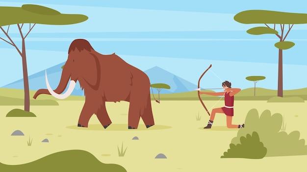 Les primitifs chassent l'homme de l'âge de pierre de mammouth à la chasse avec un arc et une flèche sur un animal ancien