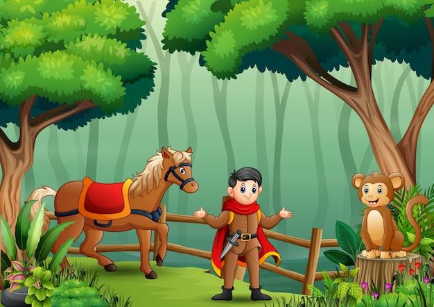 Un prince avec des animaux dans la forêt