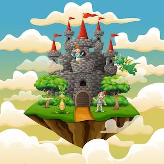 Prince, chevalier et dragon dans le palais sur les nuages