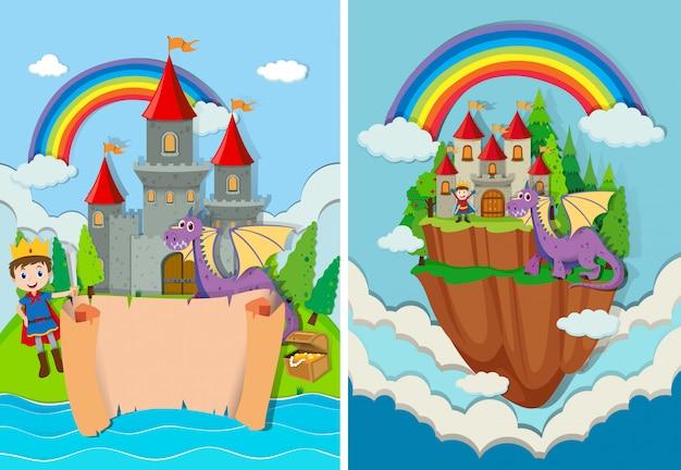 Prince et dragon au château
