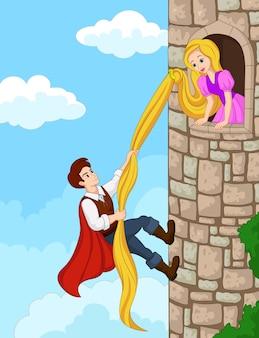 Prince escalade la tour en utilisant les cheveux longs
