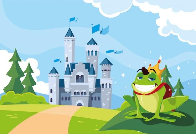 Prince grenouille avec château conte de fées dans un paysage montagneux