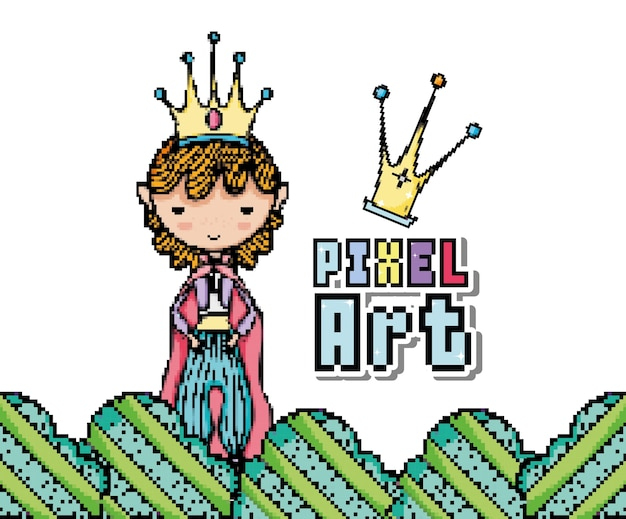 Prince pixel art dessin animé vector illustration design graphique