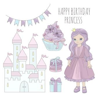 Princesse anniversaire vecteur de dessin animé conte de fées