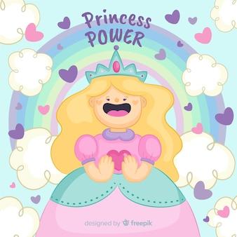 Princesse blonde dessinée à la main avec portrait arc en ciel