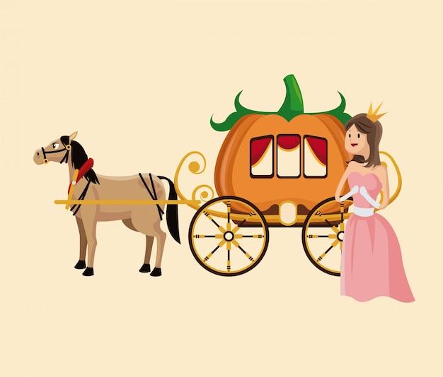 Princesse avec cheval de citrouille