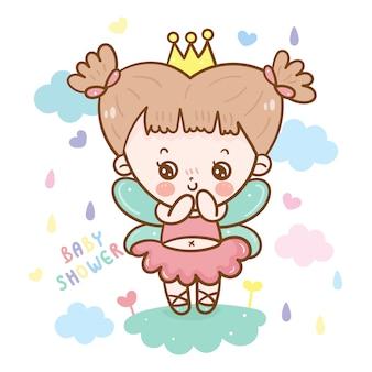 Princesse de conte de fées mignonne pour bébé douche fille