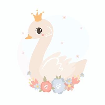 Princesse cygne avec couronne