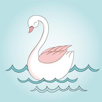 Princesse cygne sur l'eau