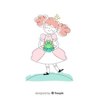 Princesse dessinée à la main avec une grenouille