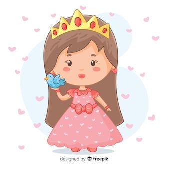 Princesse dessinée à la main avec oiseau