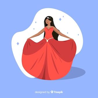 Princesse dessinée à la main avec une robe rouge