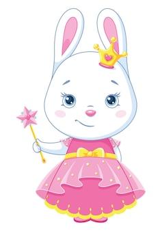 Princesse lapin avec baguette magique. illustration vectorielle de dessin animé