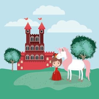 Princesse avec licorne dans le camp et le château