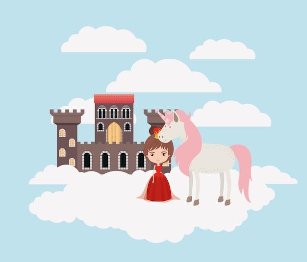 Princesse avec licorne dans les nuages et le château