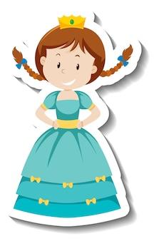 Princesse mignonne dans l'autocollant de personnage de dessin animé de robe bleue