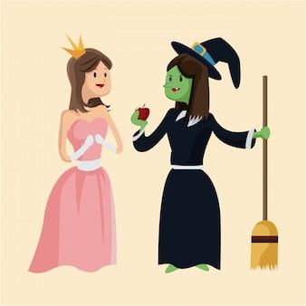 Princesse mignonne et sorcière laide donnent une pomme