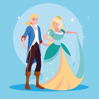 Princesse et prince de conte de fées personnage d'avatar fantastique