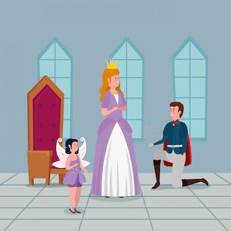 Princesse avec prince dans château intérieur