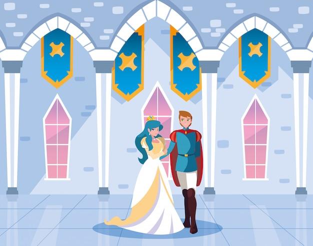 Princesse et prince dans le conte de fées du château