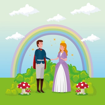 Princesse avec prince en scène conte de fées