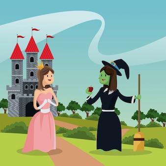 Princesse avec sorcière laide donnant le château de la pomme et le paysage