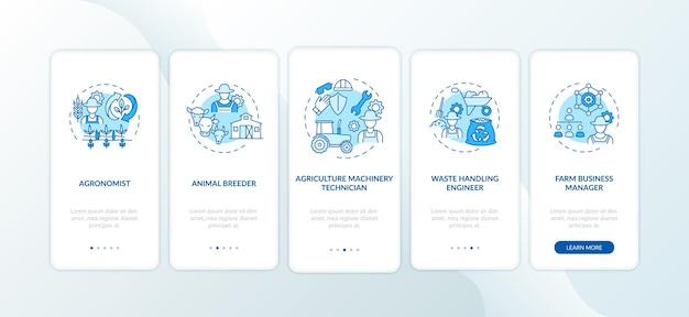 Principales carrières agricoles sur l'écran de la page de l'application mobile d'embarquement avec des concepts.