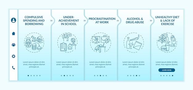 Principaux problèmes de maîtrise de soi lors de l'intégration du modèle vectoriel. site web mobile réactif avec des icônes. écrans de présentation de page web en 5 étapes. concept de couleur de problèmes de santé mentale avec des illustrations linéaires