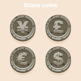 Principaux symboles de devises représentés comme des pièces en pierre brillante