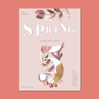 Printemps affiche des fleurs fraîches, carte de décor avec jardin coloré floral, mariage, invitation