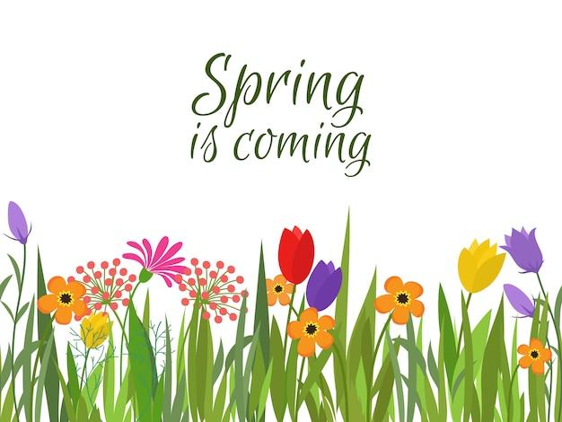Le printemps arrive en arrière-plan